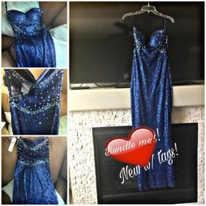 Indigo Sequin Strapless Gown w/Sheer Beaded Back